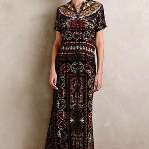Hemant Nandita Embroidered Silk Caftan Maxi Dress